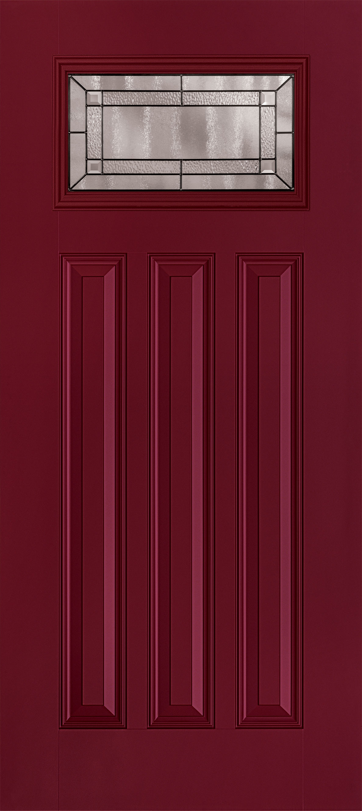 Trinity Glass Cube CraftsmanRect Smooth WineRed Entry Door