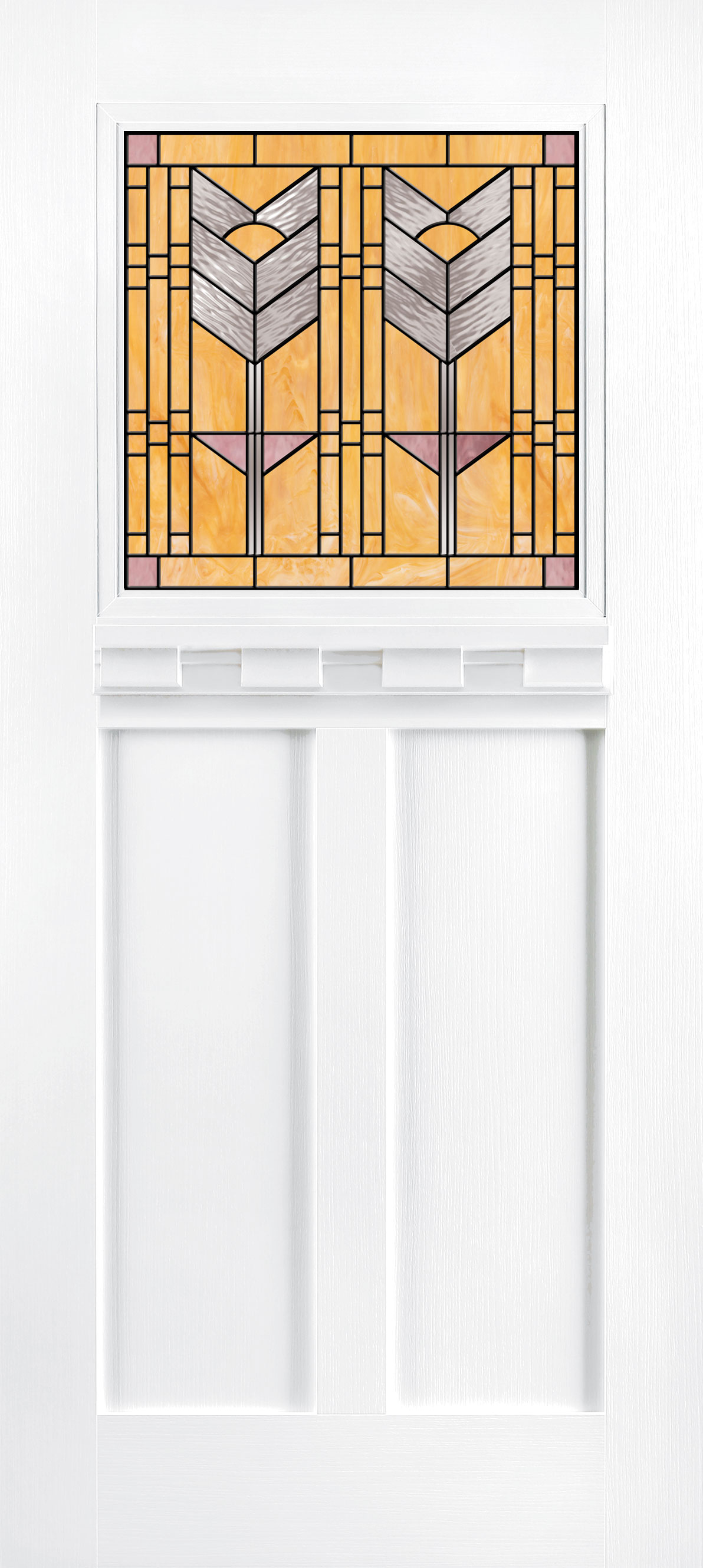 Trinity Glass Sena 1L Teak PureWhite Entry Door